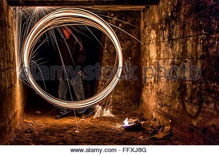 Burning Steel Wool At Night In Room - Stock Photo