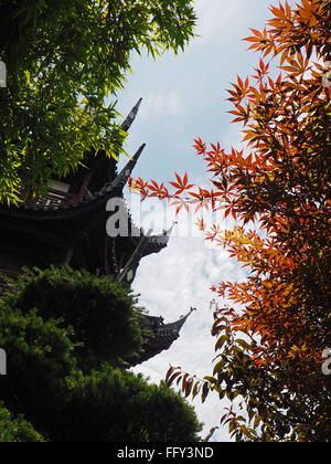 Low Angle View Of Autumn Trees And Traditional Building Against Sky - Stockfoto