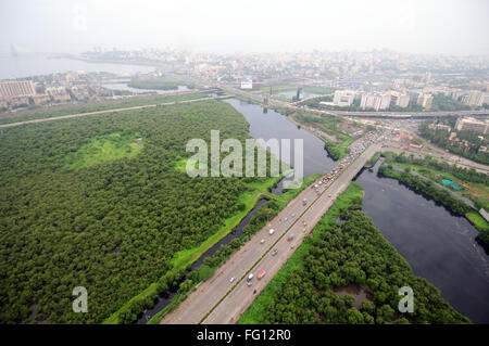Aerial view of buildings and river in city, Main River ...