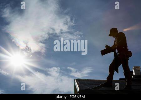 Roofer Silhouette Stock Vector Art Amp Illustration Vector