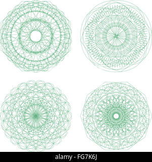 Set of vector guilloche rosettes certificate or diplomas - Stock Photo