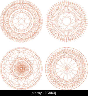 Set of vector guilloche rosettes certificate or diplomas, decorative elements - Stock Photo