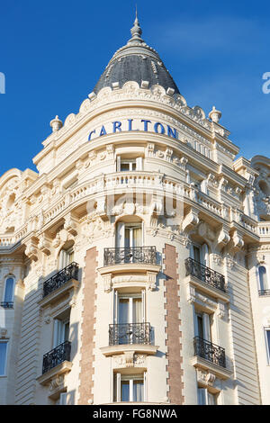 Luxury hotel InterContinental Carlton, located on the famous 'La Croisette' boulevard in Cannes - Stock Photo