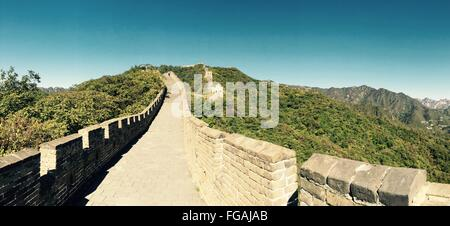 Great Wall Of China Against Blue Sky - Stock Photo