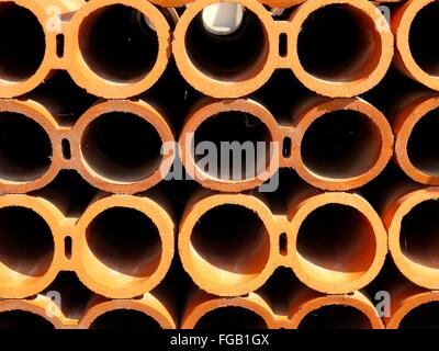 Full Frame Shot Of Hallow Pipes - Stock Photo