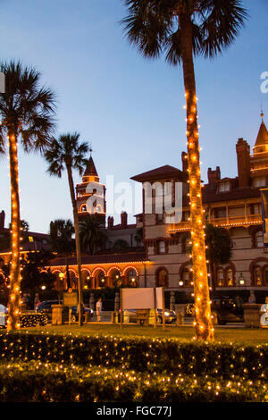 Tracing back to the Spanish tradition of white candles during the Christmas season, St. Augustine's 'Nights of Lights' - Stock Photo