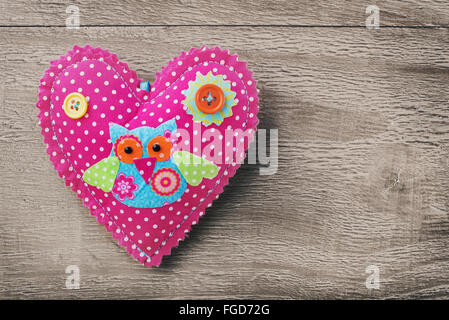 Valentines Day  heart on wooden background in retro style - Stock Photo