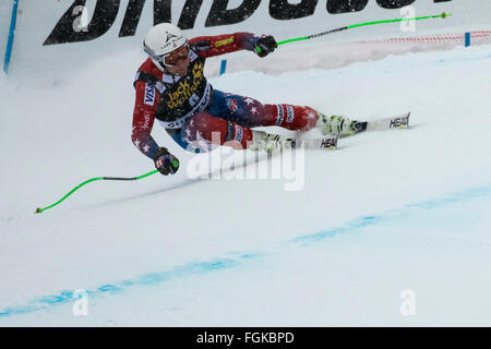 Chamonix, France. 20th February, 2016. USA ski team Andrew Weibrecht finished 18th and was the 2nd highest ranked - Stock Photo