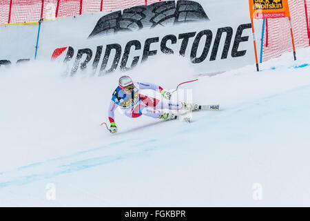 Chamonix, France. 20th February, 2016. Beat FEUZ of Switzerland skis to podium in 3rd place. The Audi FIS World - Stock Photo