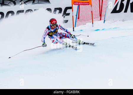 Chamonix, France. 20th February, 2016. Young local Chamonix skier Blaise GIEZENDANNER skis to a surprise 9th place, - Stock Photo
