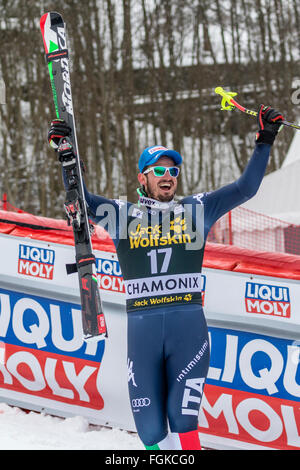 Chamonix, France. 20th February, 2016. Dominik PARIS heads to the podium to celebrate his victory. The Audi FIS - Stock Photo