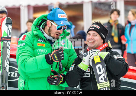 Chamonix, France. 20th February, 2016. Dominik PARIS and Beat FEUZ after the race. The Audi FIS World Cup 9th Men's - Stock Photo