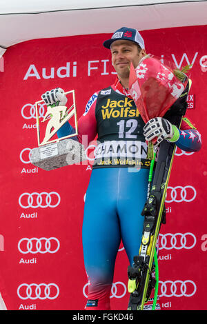 Chamonix, France. 20th February, 2016. The Audi FIS World Cup 9th Men's Downhill took place in Chamonix France with - Stock Photo