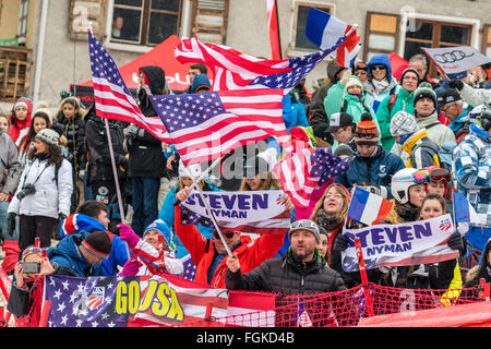 Chamonix, France. 20th February, 2016. Supporters of the USA Team and the Steve NYMAN fan club celebrated in the - Stock Photo