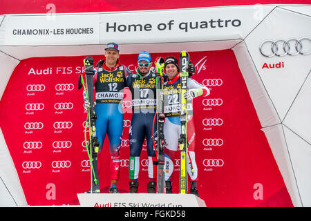 Chamonix, France. 20th February, 2016. L to R - Steven NYMAN, Dominik PARIS and Beat FEUZ. The Audi FIS World Cup - Stock Photo