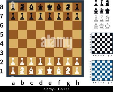 Set of chess icons and different chessboards - Stock Photo