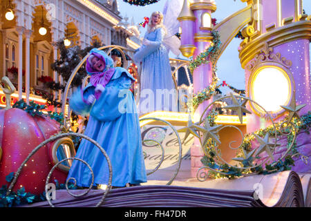 Disney parade at ChristmasParis Marne La ValléeFrance - Stock Photo