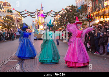Disney Christmas parade Paris Marne La Vallée  France - Stock Photo