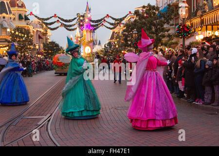 Disney Christmas parade  Paris Marne La ValléeFrance - Stock Photo