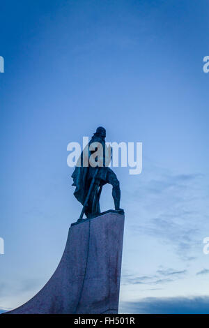 Statue of Leif Eriksen who discovered America outside the Hallgrimskirka Church in Reykjavik, Iceland - Stock Photo