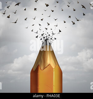 Creative pencil and take flight success concept as the lead of a pencil tip breaking away transforming into a group - Stock Photo