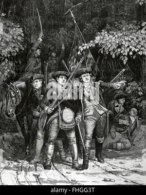 American Revolutionary War (1775-1783).  American revolutionary soldiers. Engraving by Julian Scott in Harper's - Stock Photo