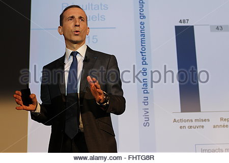 Paris, France. February 26th, 2016. FRANCE, La Défense : Philippe Knoche, CEO of French nuclear power group Areva, - Stock Photo