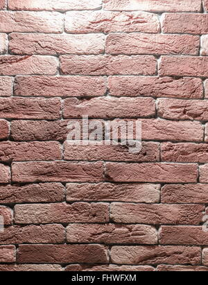 Red brick wall. Close-up picture of bricks. - Stock Photo