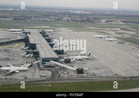 London UK. 26th February 2016. Aerial photograph of Heathrow airport hub. Commercial Pilots have called for a clampdown - Stock Photo