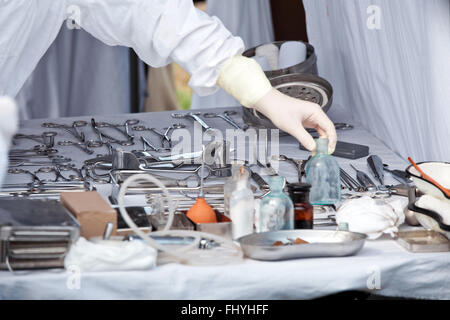 Table with surgery instruments - Stock Photo