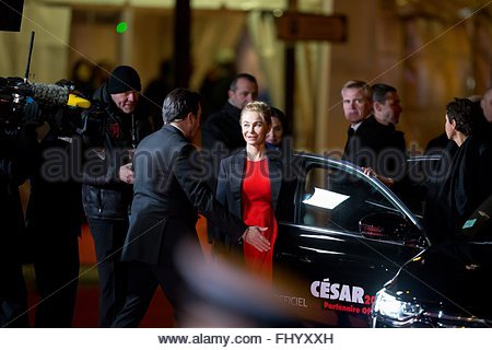 Paris, France. February 26th, 2016. FRANCE, Paris: French actress Emmanuelle Béart walks on the red carpet of the - Stock Photo