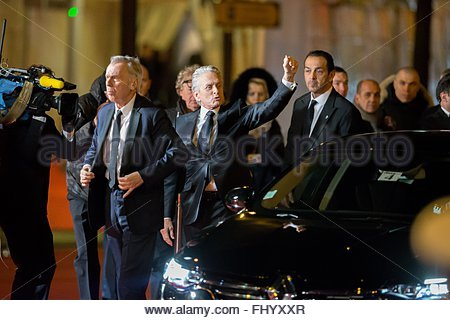 Paris, France. February 26th, 2016. FRANCE, Paris: US actor Michael Douglas walks on the red carpet of the 41st - Stock Photo