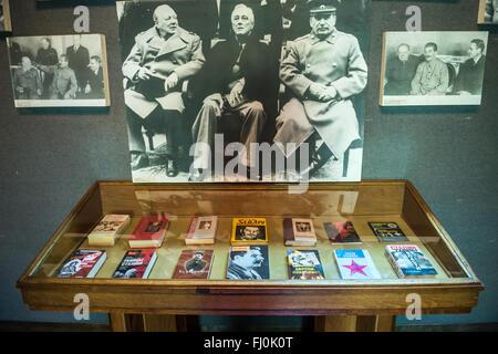 Winston Churchill, Franklin D. Roosevelt and Joseph Stalin photo in Joseph Stalin Museum in Gori town, Georgia - Stock Photo