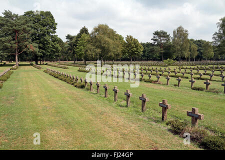 General view of the crosses/headstones of the Lommel German war cemetery, Lommel, Belgium. - Stock Photo