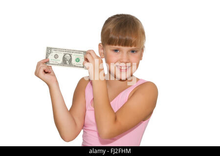 Smiling little girl with money in hands  isolated - Stock Photo