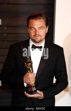 Los Angeles, California, USA. 29th Feb, 2016. Actor Leonardo DiCaprio attends the Vanity Fair Oscar Party at Wallis - Stock Photo