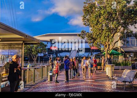 Auckland Harbor evening walk. Auckland, New Zealand Pier - Stock Photo