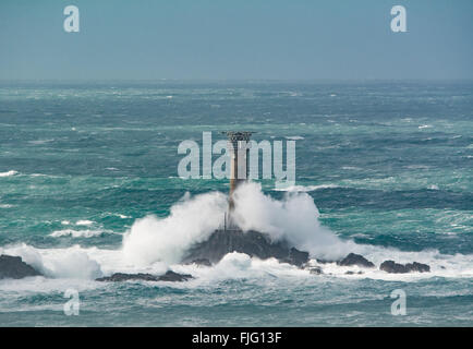 Lands End, Cornwall, UK. 2nd March 2016.  UK Weather. Gale force winds from Storm Jake continue to hit south west - Stock Photo