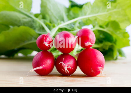 Fresh bunch of radishes, Raphanus sativus, on wooden plate ready to eat or add in healthy salads - Stock Photo