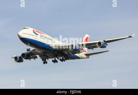 Boeing 747 British Airways Airlines Landing at LHR London Heathrow Airport - Stock Photo