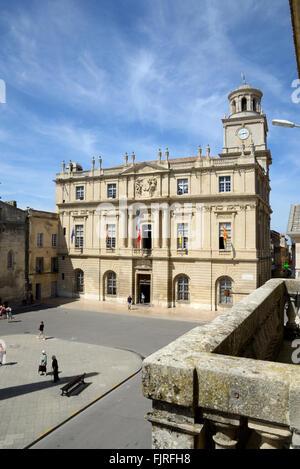 Neo-Classical Town Hall (1676) & Place de la Republique or Main Town Square Arles Bouches-du-Rhône Provence France - Stock Photo