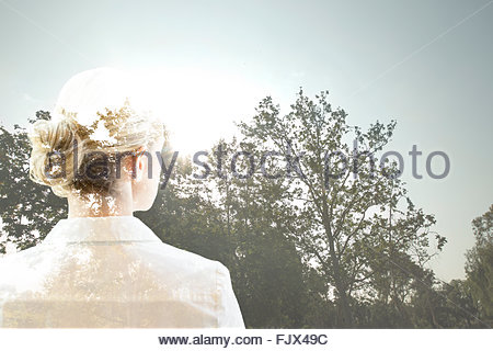 Digital composite businesswoman looking at sunny trees - Stockfoto