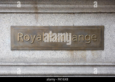 Royal Exchange sign plaque in the City of London - Stock Photo