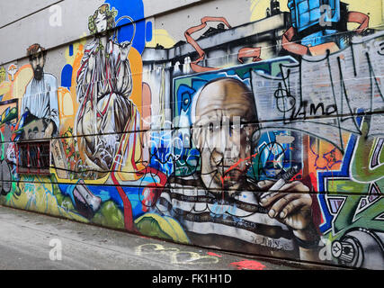 Street art murals in downtown santiago de chile stock for Carpenter papel mural santiago chile