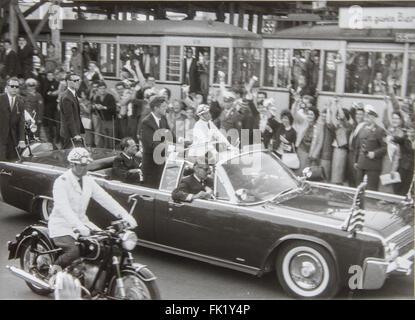 American President John Fitzgerald Kennedy with mayor of West Berlin Willy Brandt in Berlin, Germany - Stock Photo