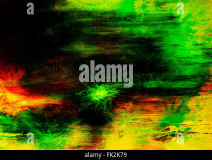 abstract painting, mixed media grunge, Original painting and computer collage. - Stock Photo