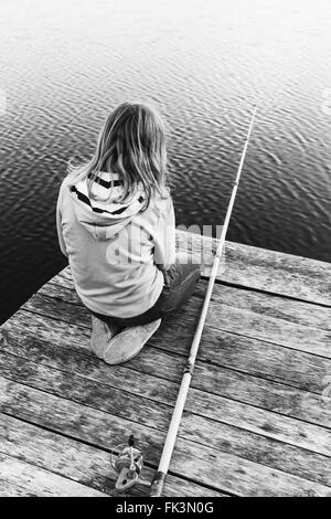 Little girl fishing on lake at summer stock photo royalty for Little girl fishing pole