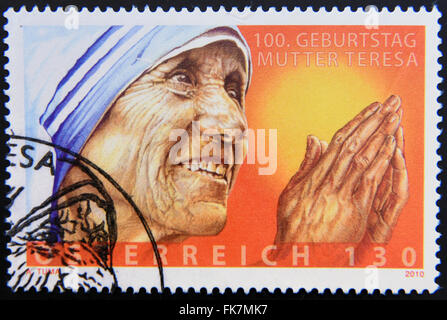 AUSTRIA - CIRCA 2010: A stamp printed in Austria showing an image of mother Teresa, circa 2010. - Stock Photo