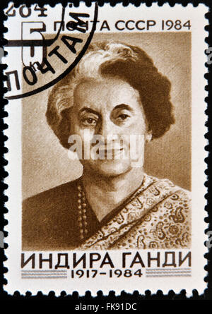 USSR - CIRCA 1984 : A stamp printed in USSR shows Indira Gandhi, Indian Prime Minister, circa 1984 - Stock Photo