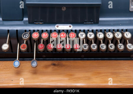 Close up of keys on a vintage cash register - Stock Photo